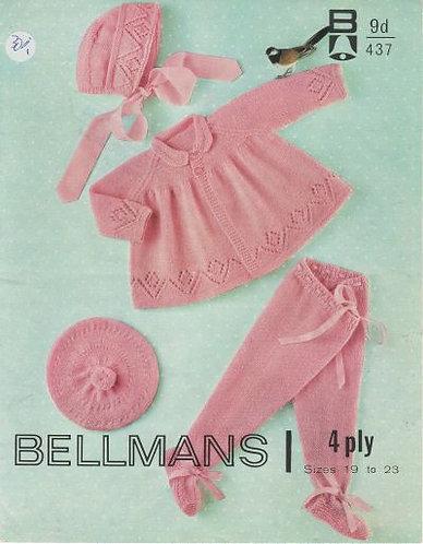 437Bell baby vintage knitting pattern PDF