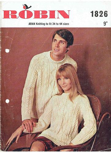 1826R ladies mens aran jumper vintage knitting pattern  PDF Download