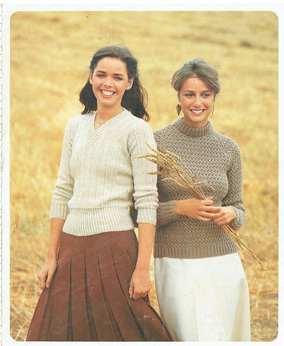 5222P ladies jumpers Vintage knitting pattern  PDF Download