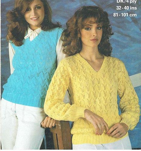 1779 ladies jumper and slipover vintage knitting pattern PDF Download
