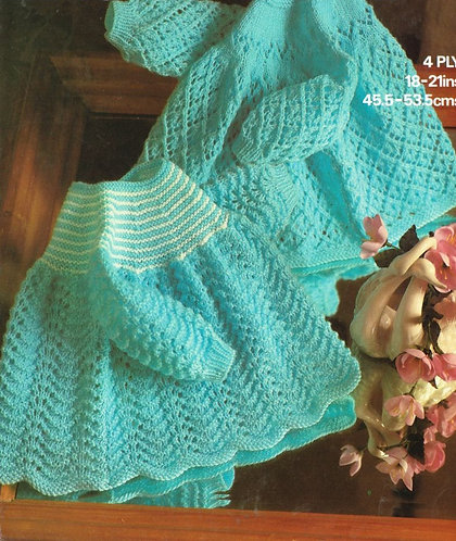 1857M baby dress vintage knitting pattern  PDF Download