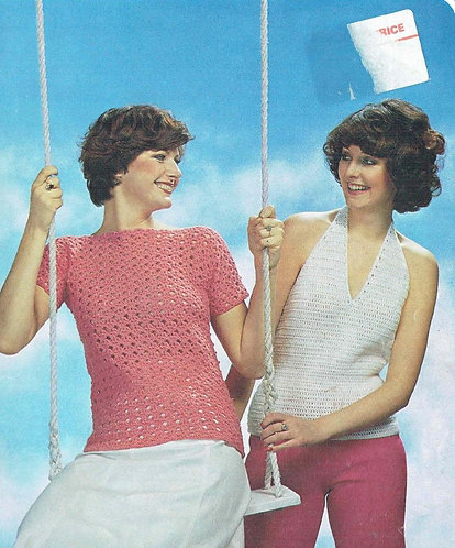 1238H ladies summer top Vintage crochet pattern  PDF Download