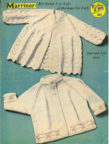 587M baby matinee coat vintage knitting pattern  PDF Download