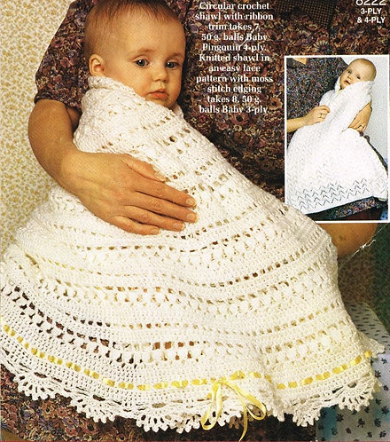 8222P baby shawl vintage crochet pattern  PDF Download
