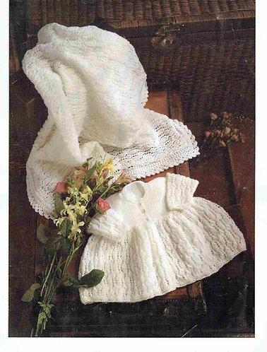 15322R baby matinee coat shawl set vintage knitting pattern  PDF Download