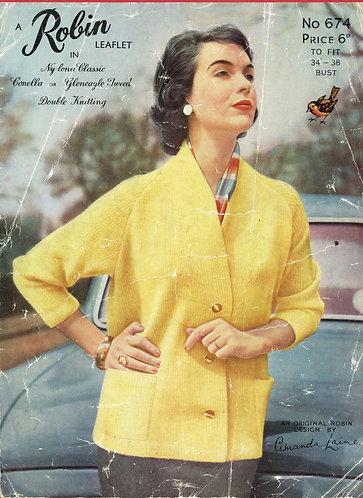 674R ladies car coat cardigan vintage knitting pattern  PDF Download