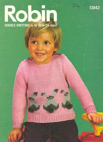 13042R baby bunny jumper vintage knitting pattern  PDF Download