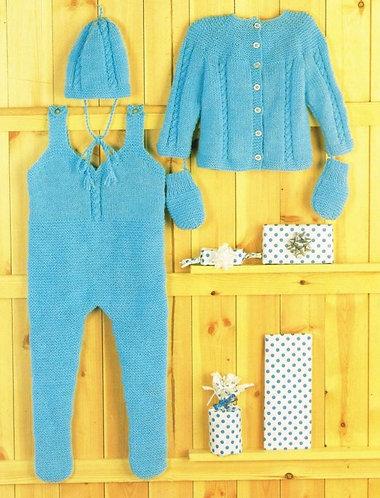 63J baby pram suit vintage knitting pattern PDF Download