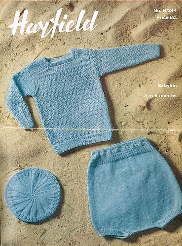 244H baby jumper set vintage knitting pattern  PDF Download