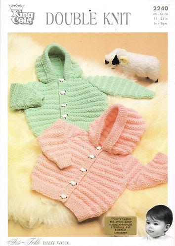 2240KK baby hoodie cardigan vintage knitting pattern  PDF Download
