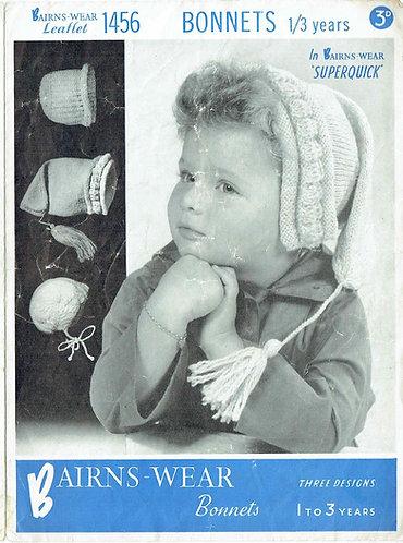 Bairnswear 1456 baby hats Vintage knitting pattern  PDF Download