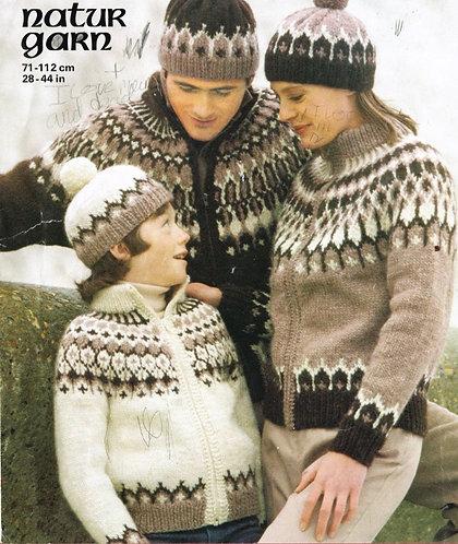 4857 family nordic knits Vintage knitting pattern  PDF Download