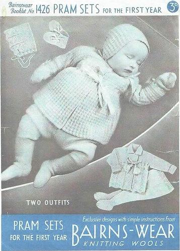 1426 baby pram suit vintage knitting pattern PDF Download