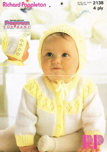 2138RP baby cardigan set vintage knitting pattern  PDF Download