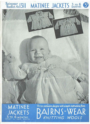 Bairnswear 1311 baby matinee coats vintage knitting pattern PDF Download