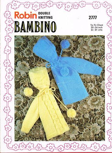 2777R baby hoodie cardigan vintage knitting pattern  PDF Download