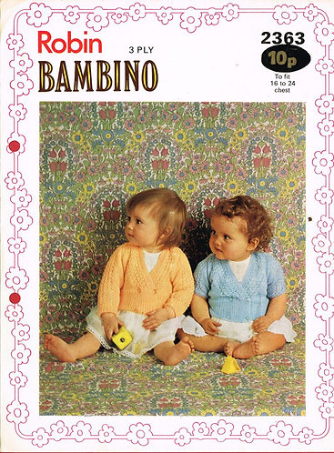 2363R baby cardigan vintage knitting pattern  PDF Download