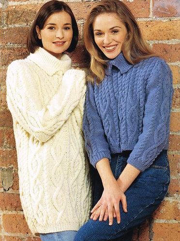 2087L ladies aran jumper vintage knitting pattern  PDF Download