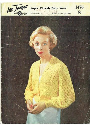 1476Lt ladies bedjacket vintage knitting pattern  PDF download