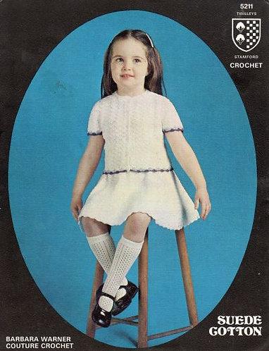 5211T girls skirt suit vintage crochet pattern  PDF Download