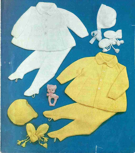 1227M baby pram suit vintage knitting pattern  PDF Download