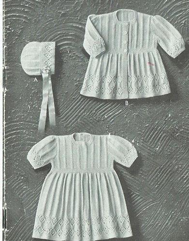 113P baby matinee coat and dress set vintage knitting pattern  PDF Download