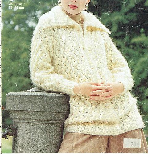 4689 ladies chunky cardigan Vintage knitting pattern  PDF Download