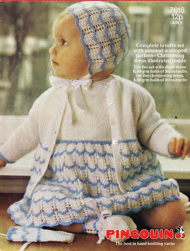 7618P baby matinee coat dress set vintage knitting pattern  PDF Download