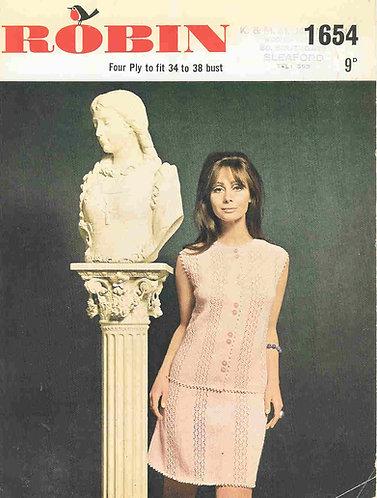 1654R ladies skirt suit vintage knitting pattern  PDF Download
