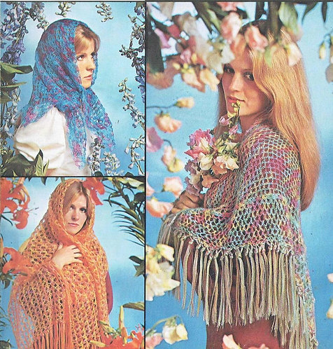 5905T ladies shawls vintage crochet pattern  PDF Download