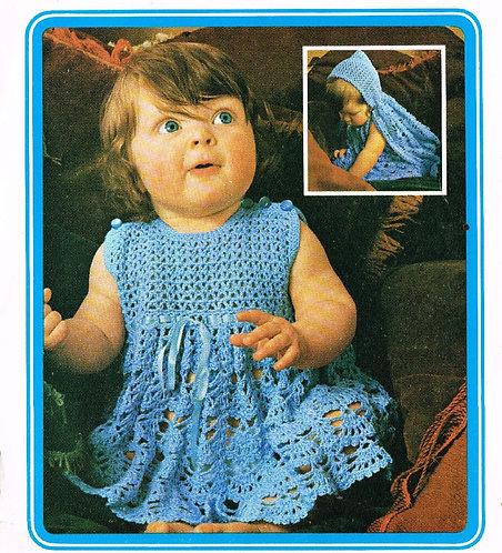 5117T baby dress vintage crochet pattern PDF Download