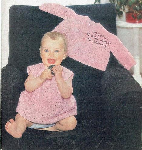 1263M baby dress matinee coat set vintage knitting pattern PDF Download