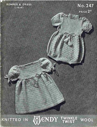 247 baby romper set vintage knitting pattern PDF Download