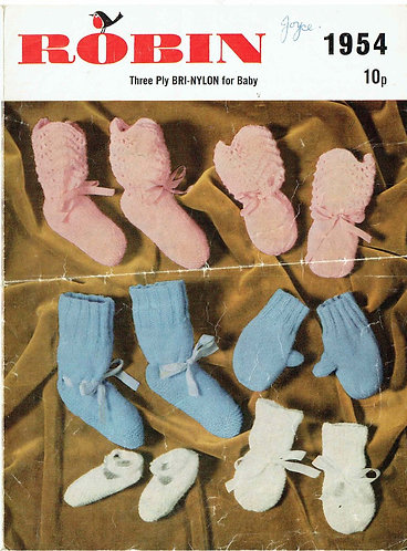 1954R baby bootees and mittens vintage knitting pattern  PDF Download