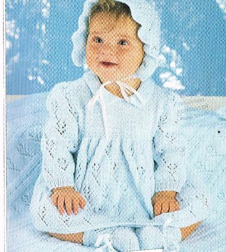 2867H baby dress set vintage knitting pattern  PDF Download
