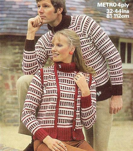 1662 ladies mens jumper Vintage knitting pattern  PDF Download