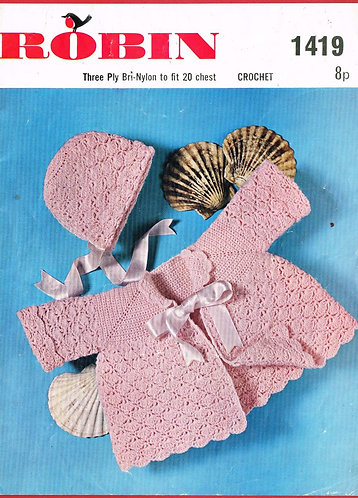 1419R baby matinee coat set vintage crochet pattern  PDF Download