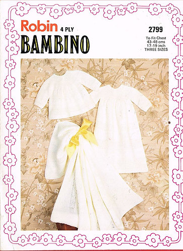 2799R baby christening layette vintage knitting pattern  PDF Download