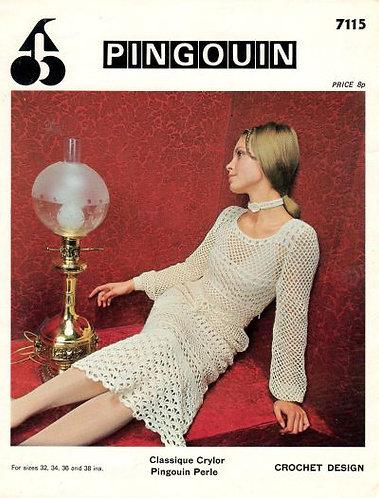 7115P ladies dress vintage crochet pattern  PDF Download