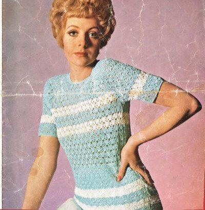 598H ladies summer top Vintage crochet pattern  PDF Download