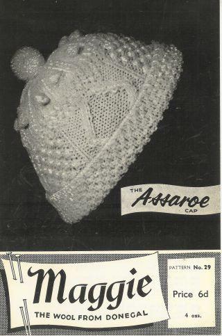 Assaroe aran cap vintage knitting pattern PDF