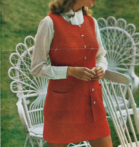 4187 ladies waistcoat skirt suit vintage crochet pattern PDF Download