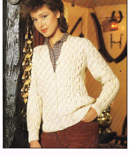 1723H ladies aran cardigan Vintage knitting pattern  PDF Download
