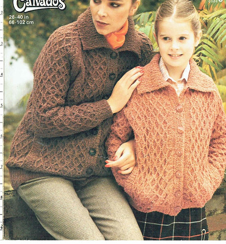 4788 mother and daughter cardigan Vintage knitting pattern  PDF Download
