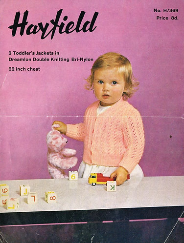 369H baby cardigan vintage knitting pattern  PDF Download