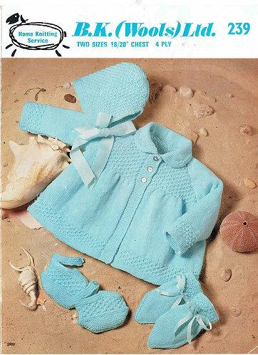 B K Wools 239  baby vintage knitting pattern PDF