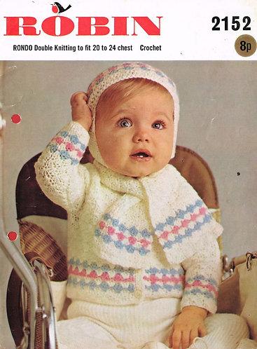 2152R baby cardigan set vintage crochet pattern PDF Download