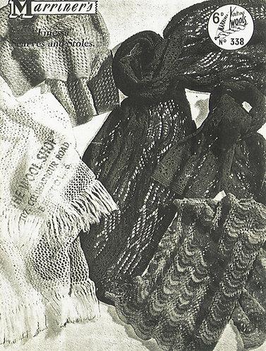 338 ladies scarf wrap Vintage knitting pattern  PDF Download