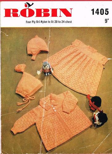 1405R baby matinee coat and dress set vintage knitting pattern  PDF Download
