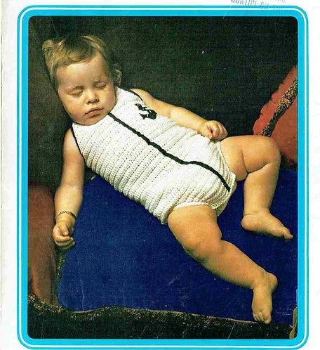 5146T baby romper suit vintage crochet pattern  PDF Download